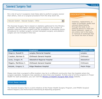 Fraser Health enhances info for surgical patients including Soonest Surgery Tool